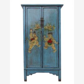 China slim design cabinet light blue painted two-leaf drawers