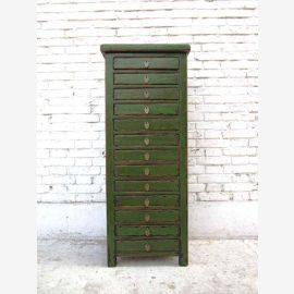 China high dresser drawer tower collectors cabinet with 13 drawers solid pine
