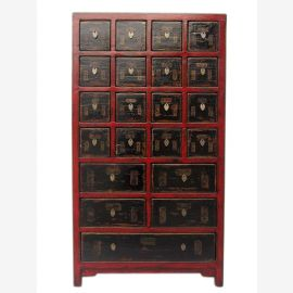 China semi high apothecary cabinet chest of drawers pine natural wood appearance with many drawers