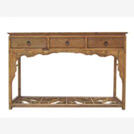 China 1860 elegant wardrobe dresser table light elm wood three drawer