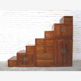 Asia stairs cupboard dresser honey brown vintage-style solid wood
