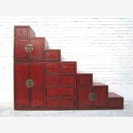 China large Stairs Chest maroon many drawers brass fittings on both sides openable from Luxury Park