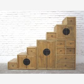 China Stairs dresser drawers country-style bright pinewood