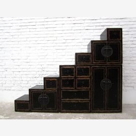Asia stairs dresser cabinet antique black colonial style pine