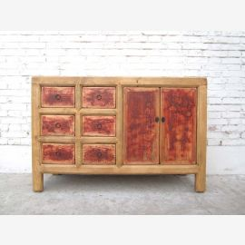 China rustic dresser credenza sideboard cabinet painted maroon front of Luxury Park