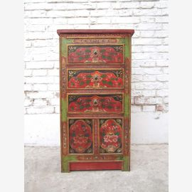China Tibet 1950 rustic dresser sideboard three drawers traditionally painted pine in brown from Luxury Park