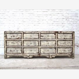 China Shabby chic wide dresser apothecary cabinet chest of twelve drawers collectors Luxury Park