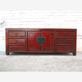 China small classic sideboard Sideboard for TV Flatscreen dark pine brass fitting by Luxury Park