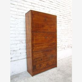 China shoe cabinet wood-tone pine 3 wide drawers and side drawers