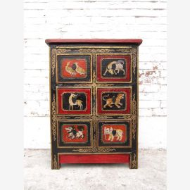China Tibet 1930 gorgeous little chest of drawers dresser antique filigree painting Animal motifs of pine Luxury Park