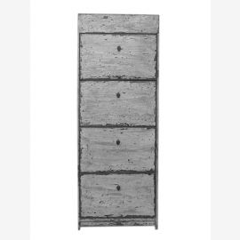 China shoe cabinet bleached shabby chic look 4 wide drawers and lateral thrusts