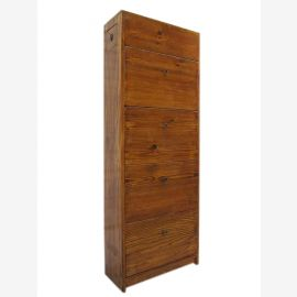 China high shoe cabinet four wide drawers pine wood natural