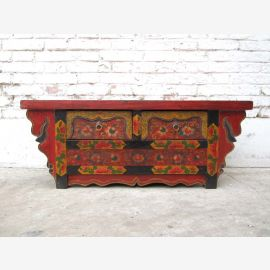 China Tibet 1940 antique flat chest of drawers sideboard richly decorated and painted pine wood from Luxury Park