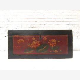 "China Mongolia about 1,890 small ancient chest dark elm with fine floral painting by ""Luxury-Park"""