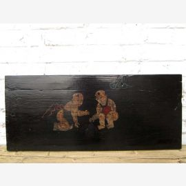 China 120 years old traditional painted on pine wood panel mural children Scene of Luxury Park