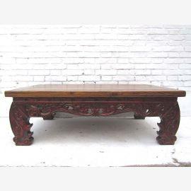China 1930 Classic flat table wonderfully ornate decorative base dark pine wood from Luxury Park