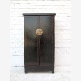 China semi-high cabinet credenza double door brass fitting black lacquered pine wood from Luxury Park