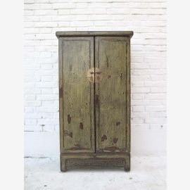 China semi-high cabinet cupboard with double door brass fittings on olive green painted pine wood from Luxury Park