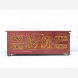 China 1920 Lowboard dresser flat maroon antique pine