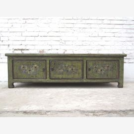 China 1930 Classic flat chest Lowboard ideal for flat panel TV dark gray painted pine here at Luxury Park