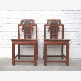 China 1895 chair carvings honey brown antique elm wood