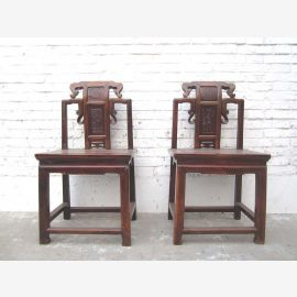 Zhejiang Asia around 1890 chair carving brown Antique elm timber