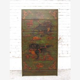 China shoe cabinet dresser tower black painted pine rich floral motifs, two side thrusts of Luxury Park