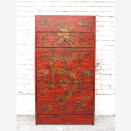 China great shoe cabinet chest of drawers pine red painted dragon motif additional lateral drawers of Luxury Park