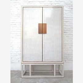 China large white painted double doors closet Modern pine