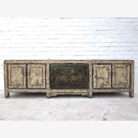 China 1960 wide sideboard Sideboard for flatscreen shabby chic look double doors grunge white pine from Luxury Park