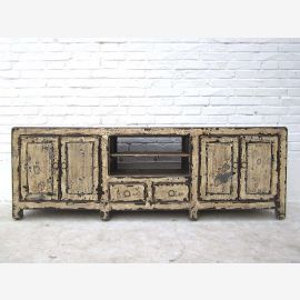 China Shabby chic flat sideboard Sideboard for TV flat screen four doors, two drawers antique white pine Luxury Park