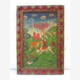 "Ancient China colorful mural painted on antique painted wood classic scene from ""Luxury-Park"""