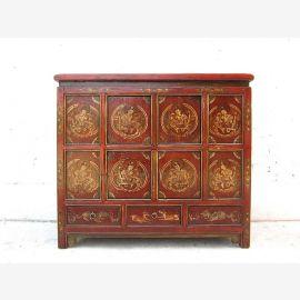 Asia large dresser sideboard dark brown and gold Tibet 1920