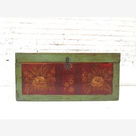 """China Mongolia 1890 peasant wedding chest brown green painted pine floral painting by """"Luxury-Park"""""""