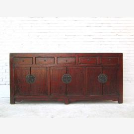 China very wide chest of drawers sideboard five drawers six doors classic look red-brown pine wood Luxury Park