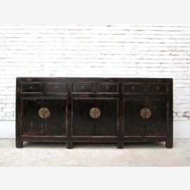 China 1890 colonial style ultra long console credenza sideboard black lacquer with metal clasps of Luxury Park