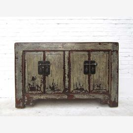 China dresser drawers gray green painted pine with vintage patina antique look of Luxury Park