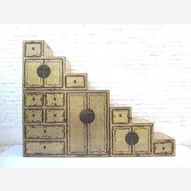 """China large Stairs Chest dirt white shabby chic scuffs many drawers on both sides openable from """"Luxury-Park"""""""