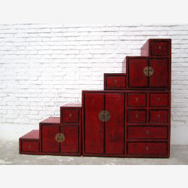 China stages dresser cabinet reddish brown antique style pine