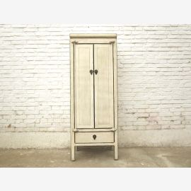 China tall slender chest double door antique white timber