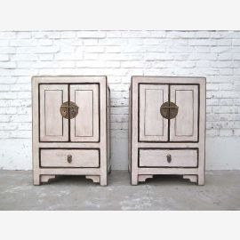 China small chest of drawers bedside cabinet Antique White Vintage style pine