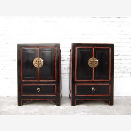 Asia small chest of drawers bedside table black lacquered solid wood vintage