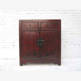 China small chest of drawers dresser doors and drawers red-brown pine metal fitting of Luxury Park