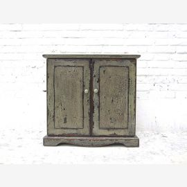 China small dresser vanity cabinet lacquered pine wood stain gray shabby chic look by Luxury Park
