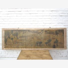 China wide mural light brown framed 80 years old pine wood