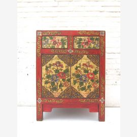 """China Tibet around 1930 painted filigree compact dresser beautiful floral motifs on pine wood from """"Luxury-Park"""""""