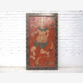China Tibet mural deity antique finish frame solid wood