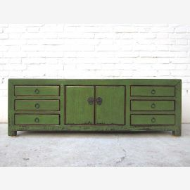 China small chest of drawers TV Lowboard antique green six drawers