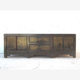 Asia TV Lowboard dresser antique green vintage style pinewood