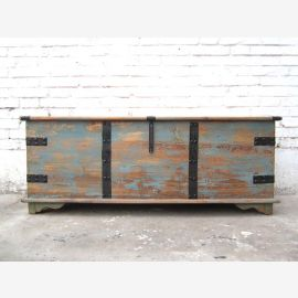 China shabby chic large flat chest metal fitting timber light blue
